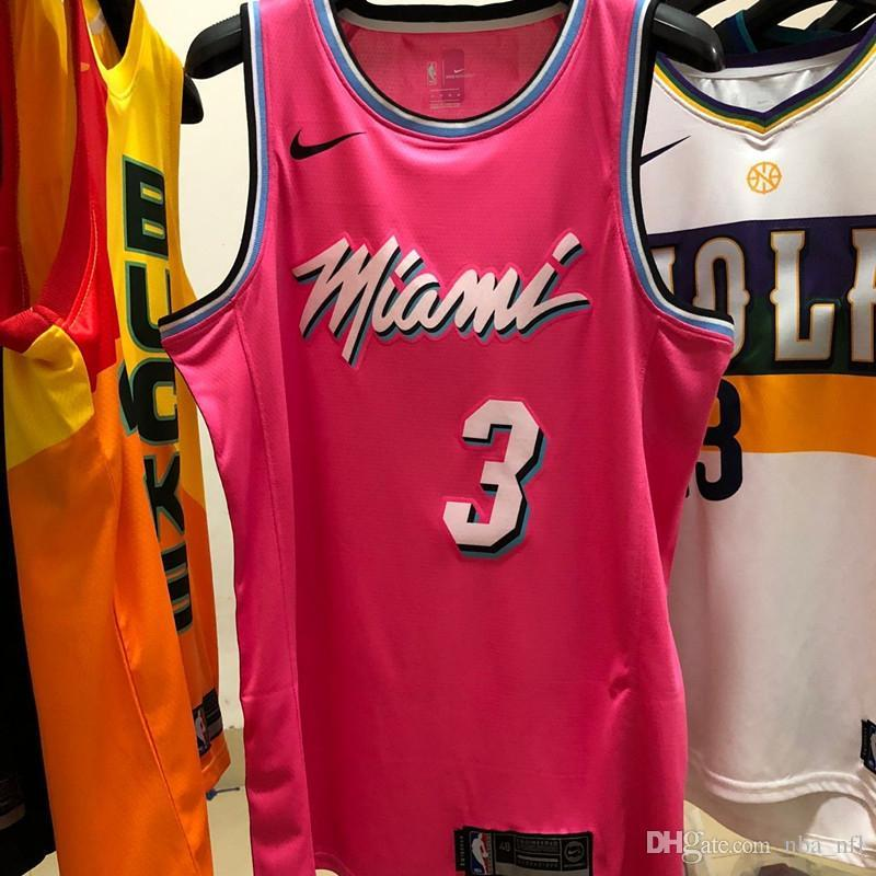 pretty nice 24370 0785e 2020 Mens Heat Dwyane Wade New City Pink Edition Swingman Basketball Jersey  AU Hot Pressing Printed Name Number Authentic US Size XXS-XXL