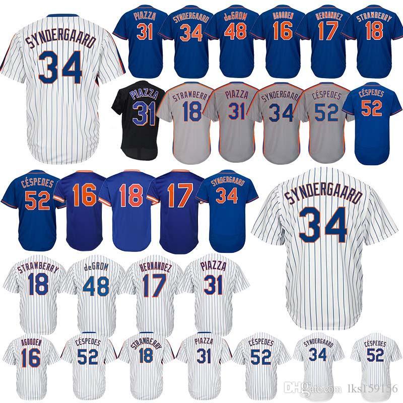 the best attitude 624d7 2b645 New York Baseball Jerseys Mets Gooden 16 Dwight Hernandez 17 Keith  Strawberry 18 Darryl Cespedes 52 Yoenis embroidery logo