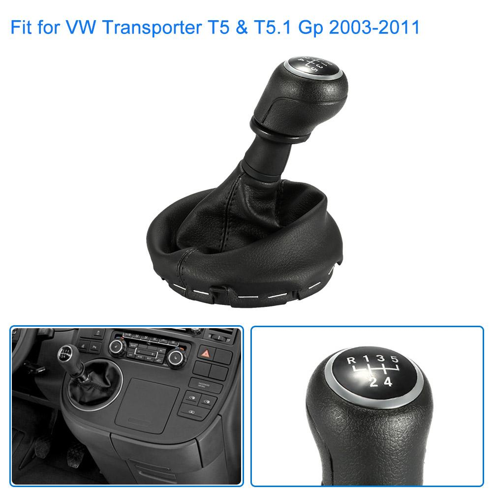 Freeshiping 5 Speed Car Auto Black Leather Gear Shift Stick Shifter Knob Cover Boot Replacement Kit for VW Transporter T5 &T5.1 Gp 2003-2011