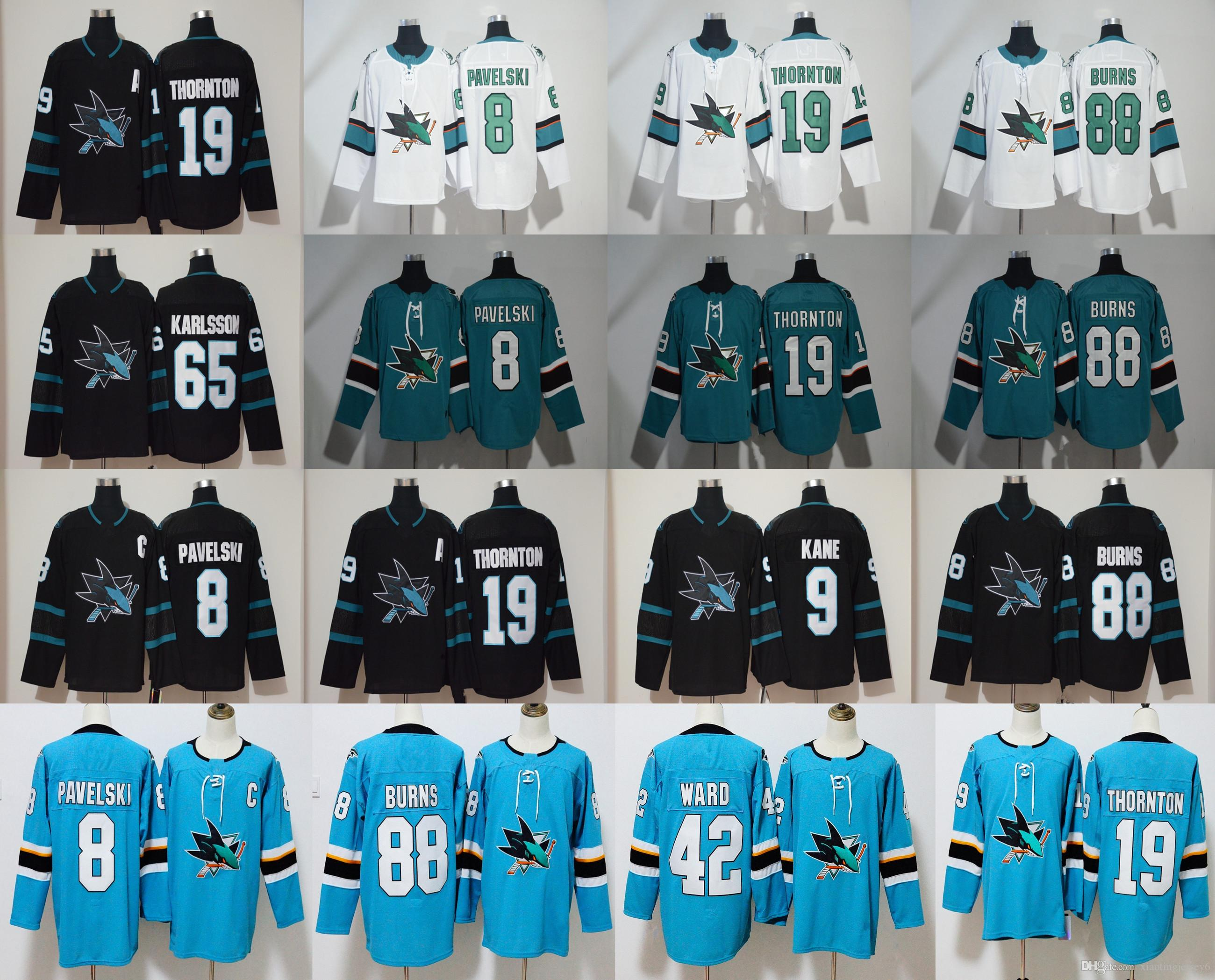 30bf4201f ... spain 2019 san jose sharks jersey mens 65 erik karlsson 19 joe thornton  88 brent burns