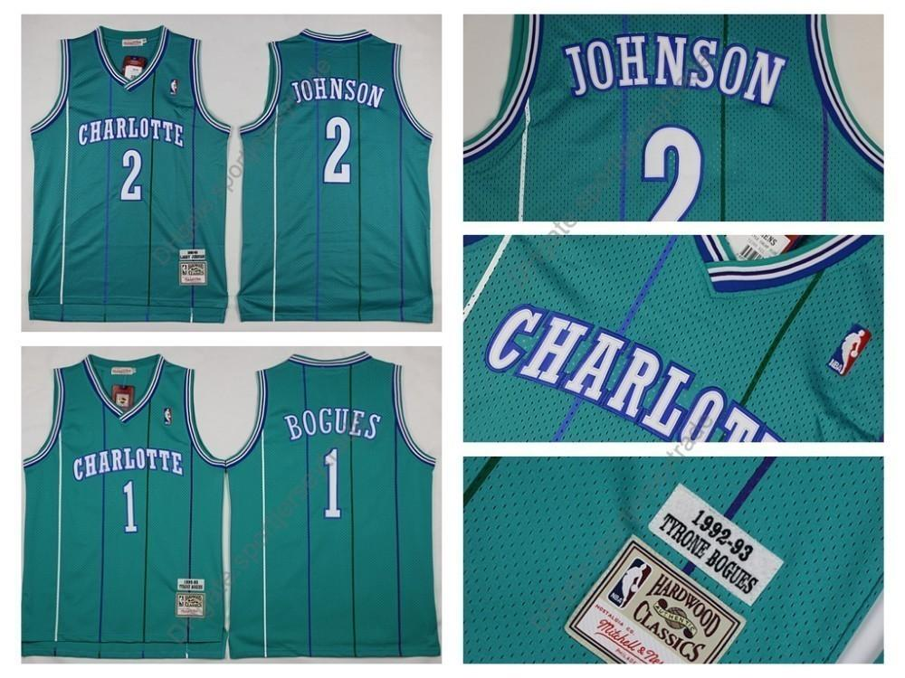 separation shoes 029b2 92aef Top Quality Vintage Charlotte Muggsy Bogues Hornets Basketball Jersey #1  Mens Tyrone Muggsy Bogues 2 Grandma-ma Larry Johnson Stitched
