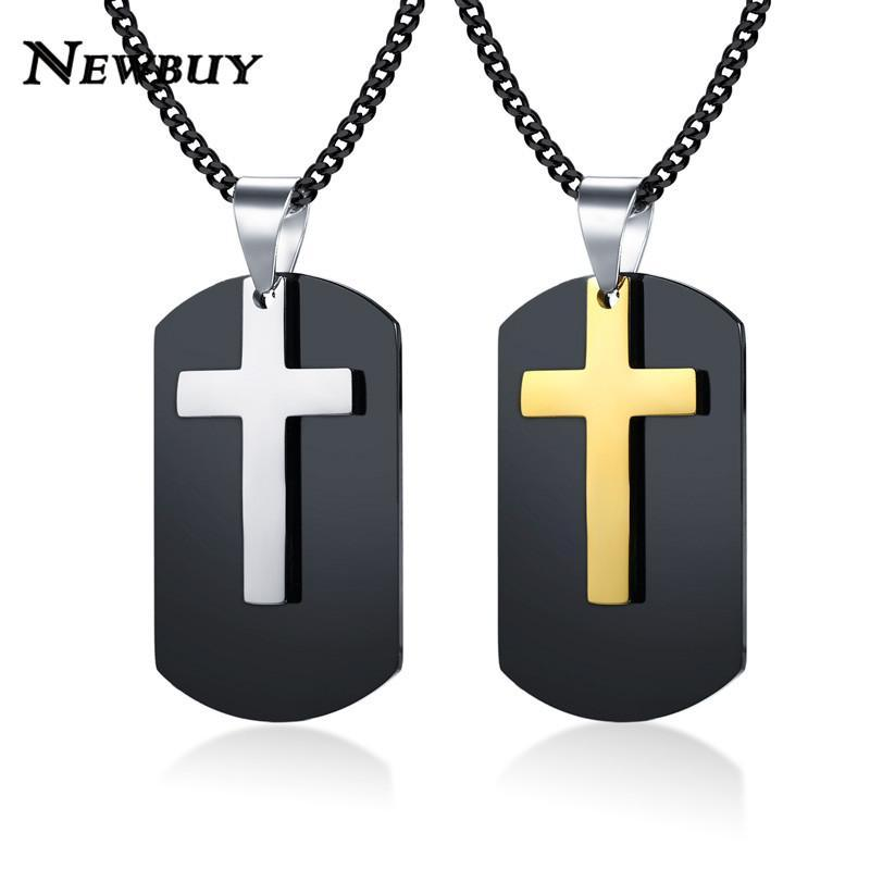 NEWBUY Punk Style Gold/Silver Cross Pendant Necklace For Men High Quality Stainles Steel Statement Necklace Male Party Jewelry