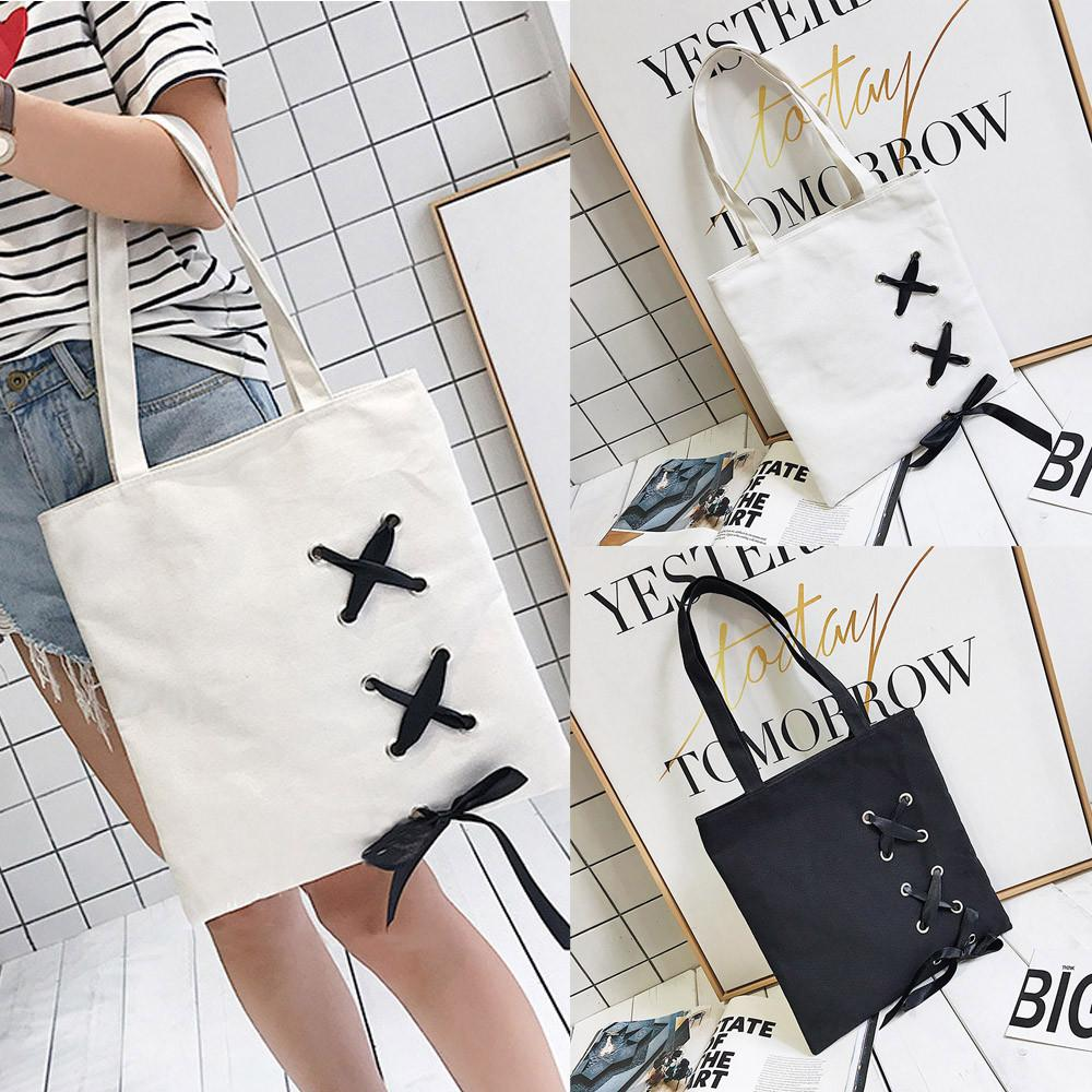 New Women's Casual Lace-up Canvas Tote Bag Female Canvas Shoulder Bags crossbody bags for women Beach bag bolso mujer