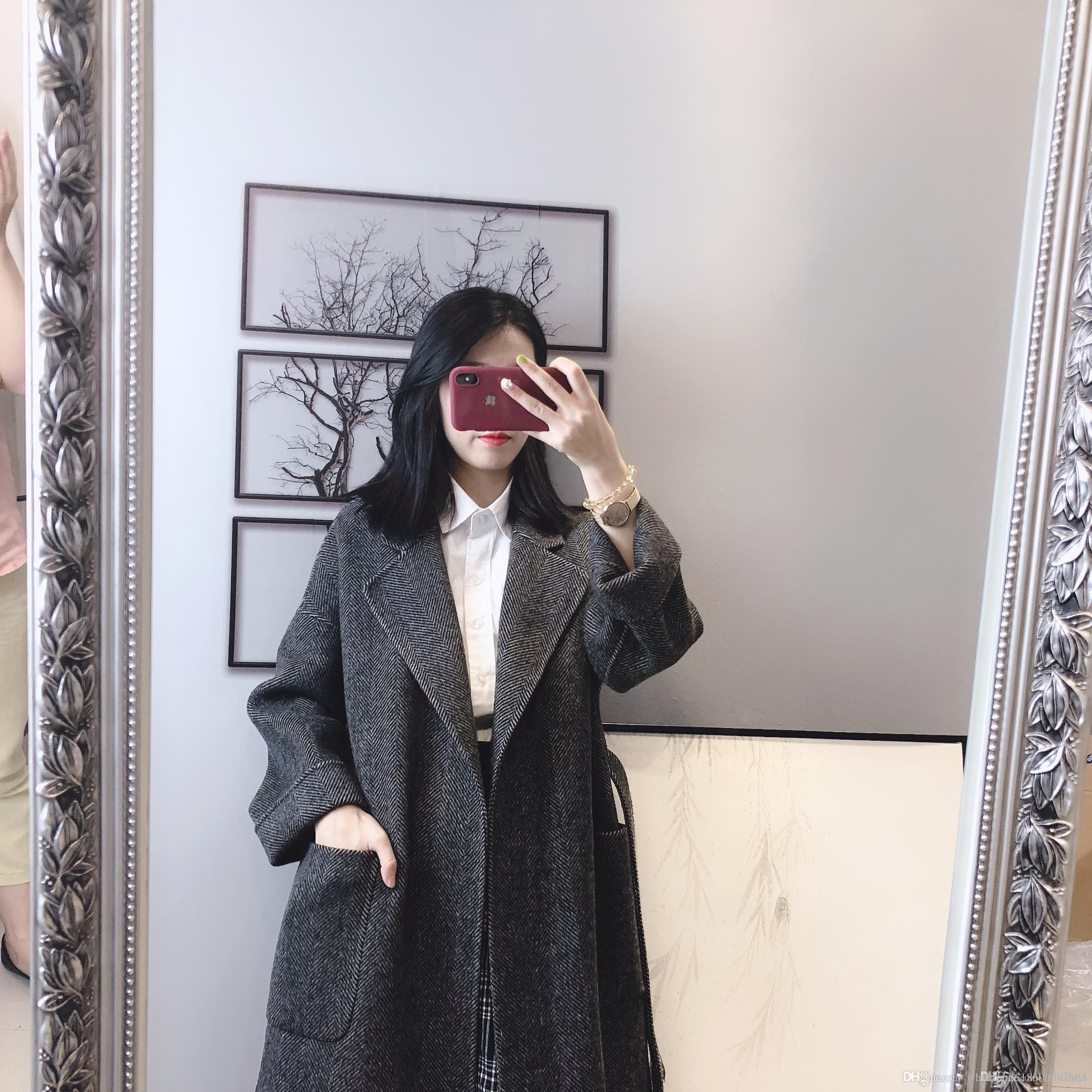 2019 new explosion models hot double-sided cashmere coat women's long section small slim wool coat large size women's clothing