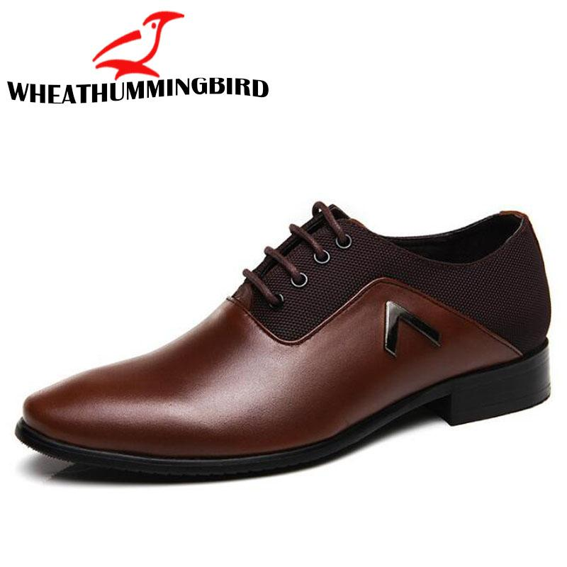 2019 Hot Men Dress Formal Lace-up Shoes Big Size Men Business Oxford Shoes Brand Wedding Pointed toe Leather LM-66