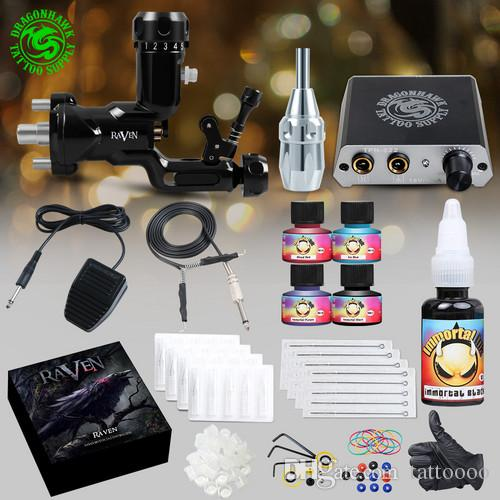 TOP Tattoo kit Black Raven Rotary Machine Gun Mini Power Supply Disposable  Needles Tips Grip Immortal Inks D3052