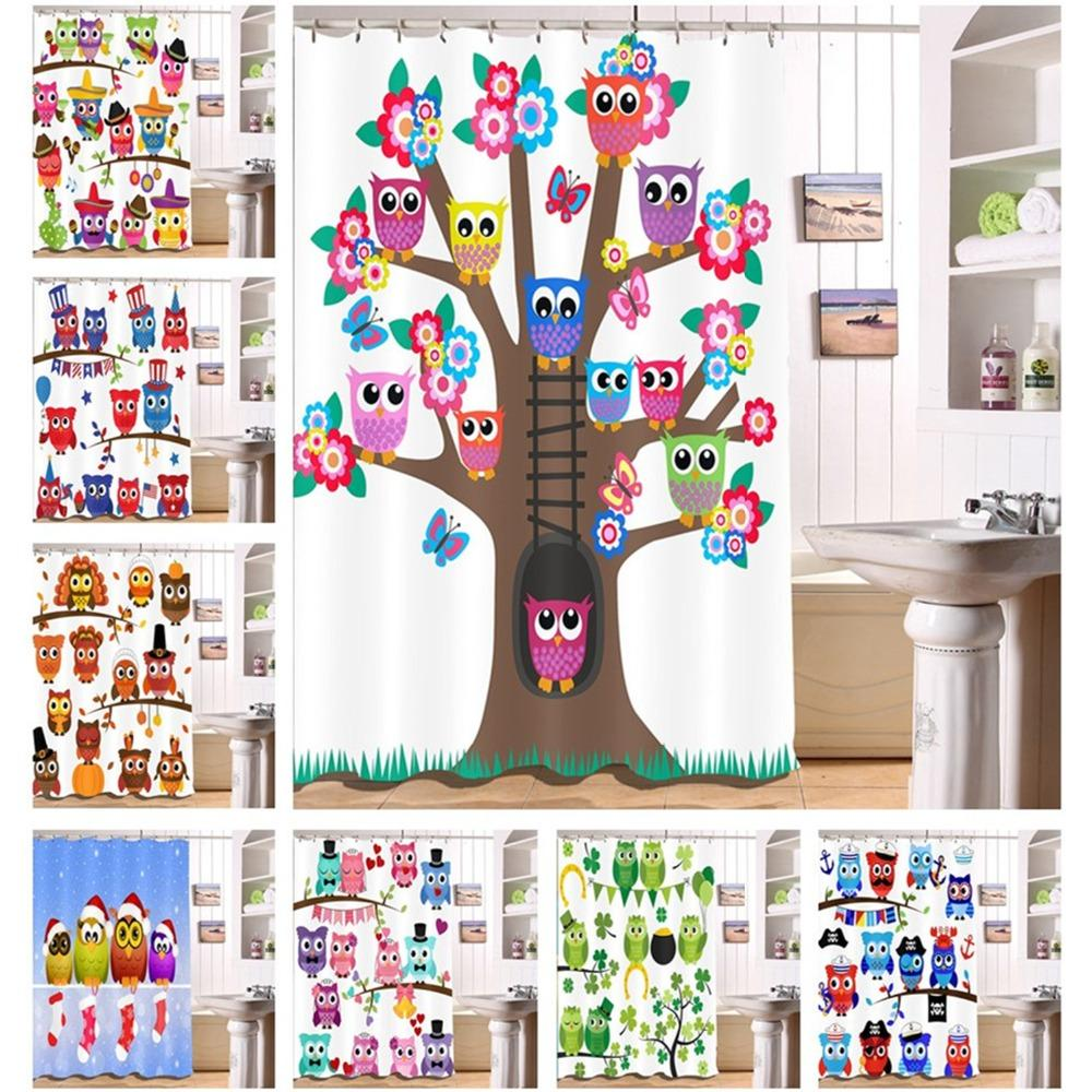2018 LB Birds On The Tree Shower Curtains Christmas Cartoon Funny Bathroom Curtain Waterproof Polyester Fabric For Kids Bathtub Decor From Anzhuhua
