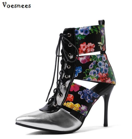 3e51d2506a20 2019 Gladiator Roman Boots Women Summer Sandal Flower Lace Up Ladies ...