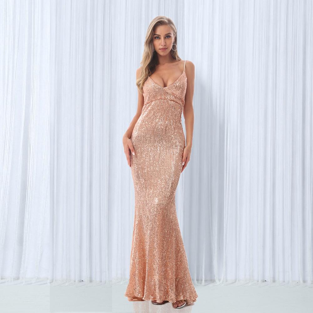 4ed7181f 2019 Sexy V Neck Champagne Gold Sequined Maxi Dress Floor Length Party Dress  Sleeveless Strapless Backless Evening Mermaid Dress Y190425 From Jinmei03,  ...
