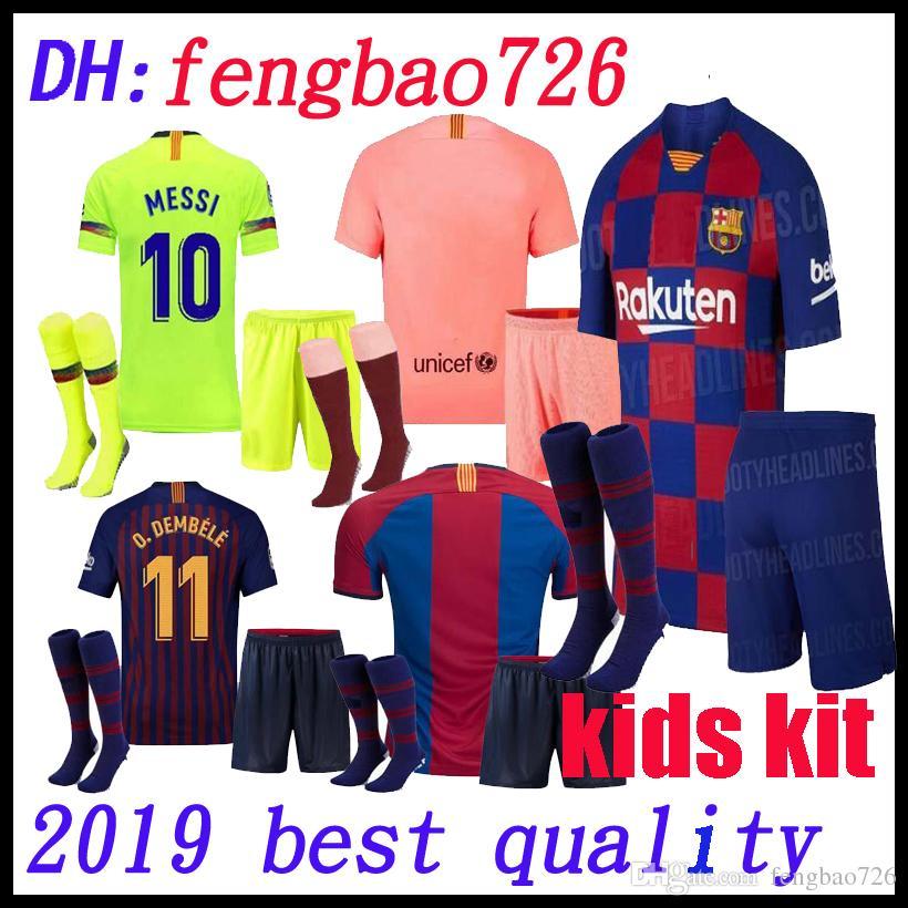 099037c7ab Kids Kit 19 20 Barcelona Soccer Jersey 2019 MESSI SUAREZ COUTINHO Camisas  Blue Dembele Home Football Shirt 18 19 Child BOYS Kit+Socks ARTHUR Canada  2019 ...