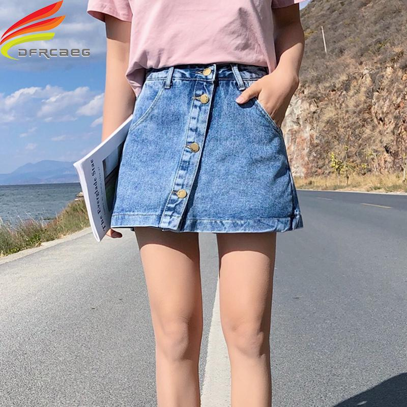 a1702cad16 2019 Streetwear Denim Skirts Short Spring Summer 2019 New Single Buttons  Pockets A Line Denim Skirt Women High Waist Jean Skort J190426 From Tubi03,  ...