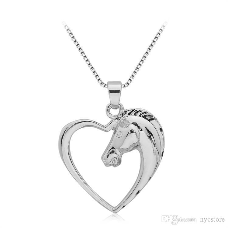 Fashion Horse Pendant Necklace Hollow Out Love Heart Shape Hot Animal Necklaces Jewelry For Couples