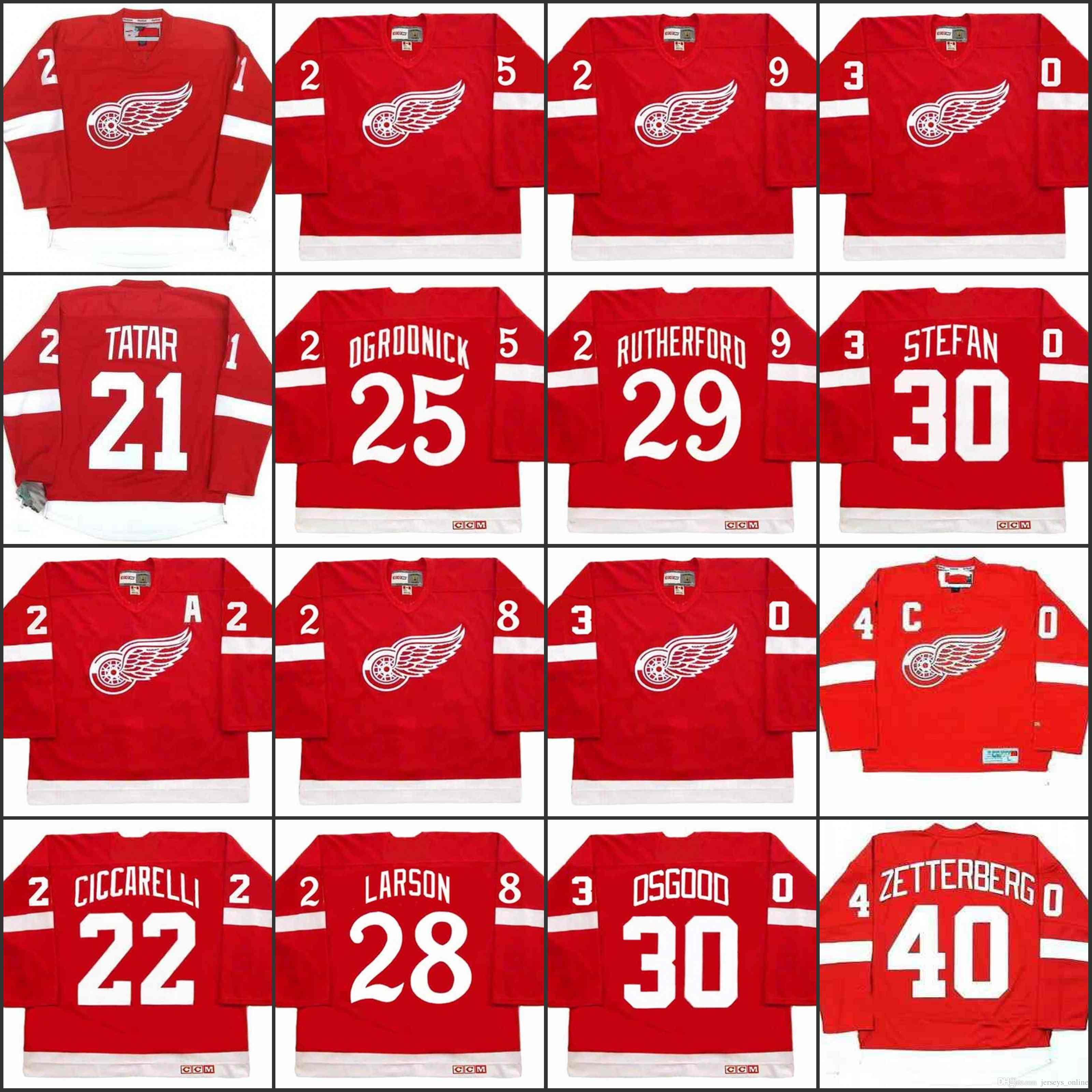 Detroit Red Wings 21 TOMAS TATAR 22 DINO CICCARELLI 25 JOHN OGRODNICK 28 ANNEAU LARSON 29 JIM RUTHERFORD Maillot 30 CHRIS OSGOOD