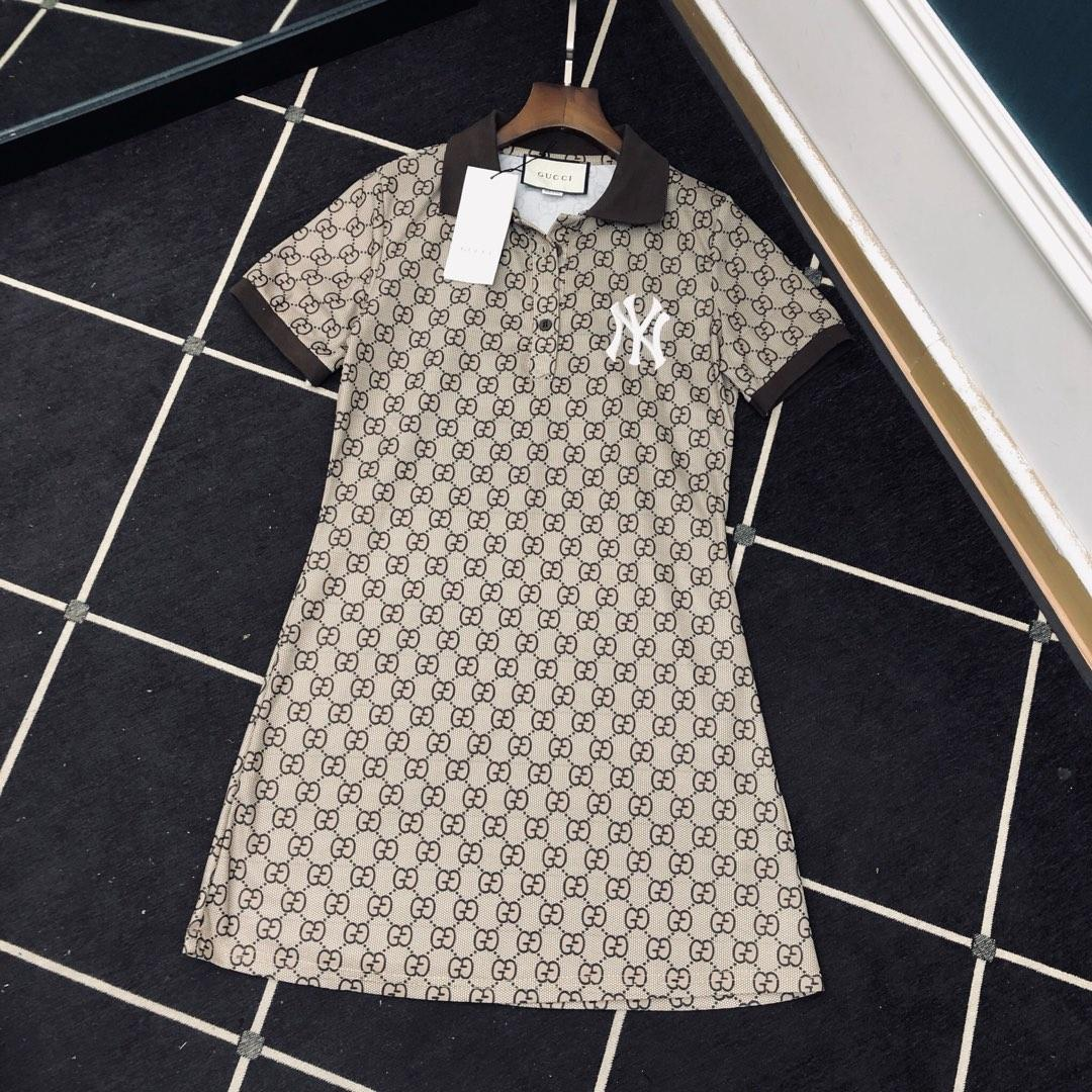 Womens fashion casual embroidery fashion elegant personality full of fashion letter printing Polo wild T skirt