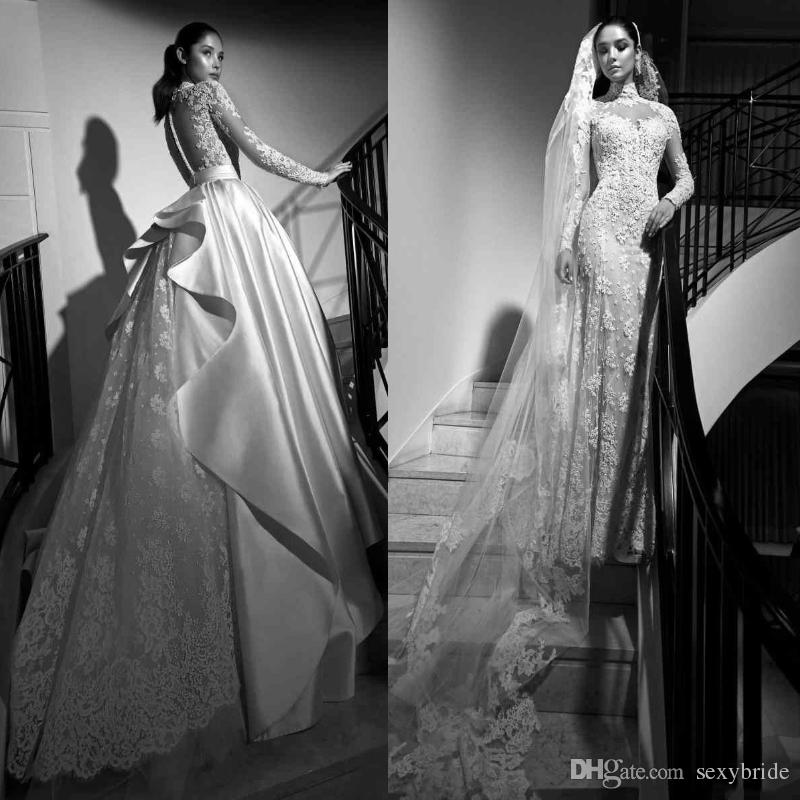 Luxurious Arabic High Neck Mermaid Wedding Dresses With Detachable Train Lace Long Sleeves Zuhair Murad 2019 Dress Princess Bridal Gowns