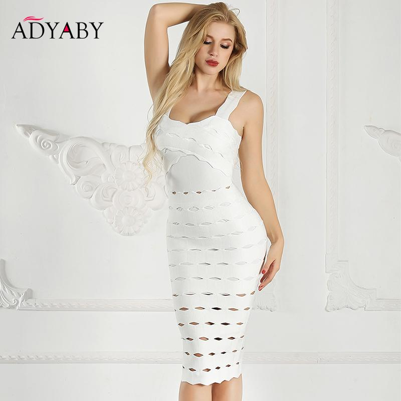 Spaghetti Strap Dresses Women Summer 2019 White Bandage Bodycon Midi Dress With Open Back Hollow Out Night Club Party Dress T5190615