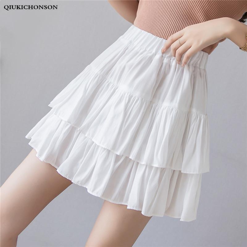 400d8ad97c 2019 High Waisted Cute Cake Layered Ruffle Pleated Skirt Women 2019 ...