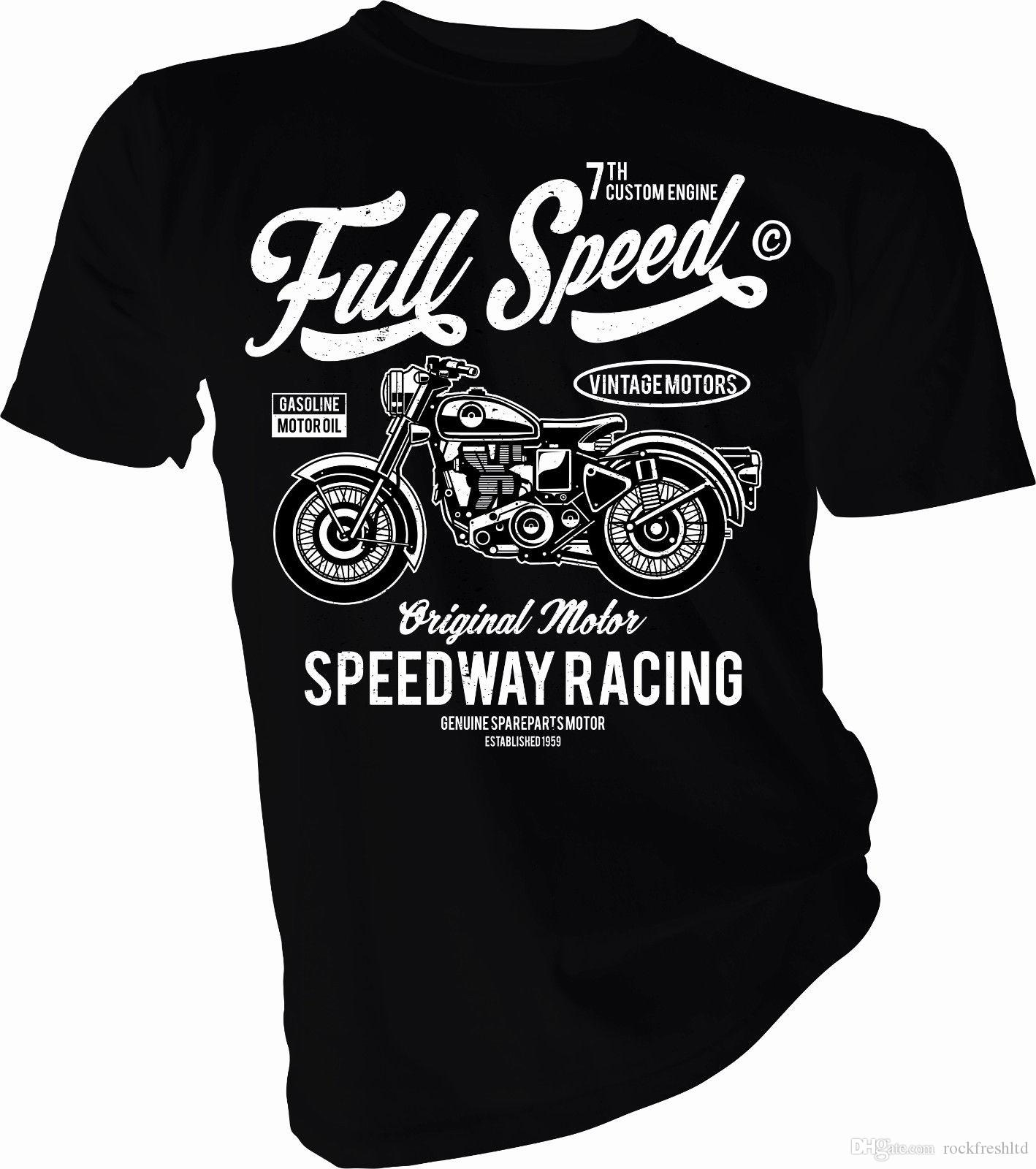 Biker Ladies /& Kids Sizes Vintage Speedway Print  Motorcycle T-Shirt Gents