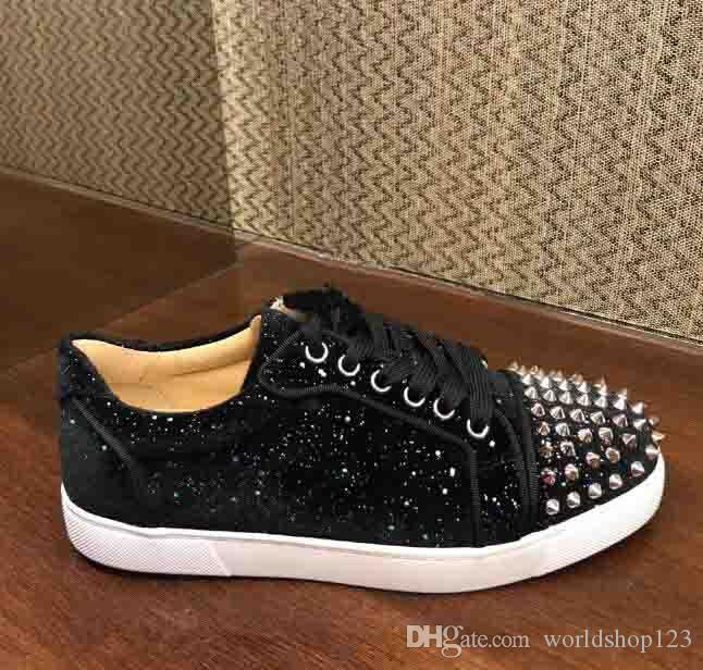 f52e44ce655 2019 Young Skate Shoes Brand Design Red Bottom Sneaker Men Junior Spikes  VIEIRA Rhinestone Giltter With Spikes Wholesale Cheap