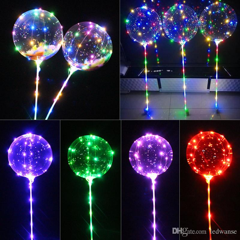 Luminous Bobo Balloons LED Lights 20 inch Balloons 70cm Pole 3M 30LEDs String Light For Wedding Party Festival Luminous Decorations