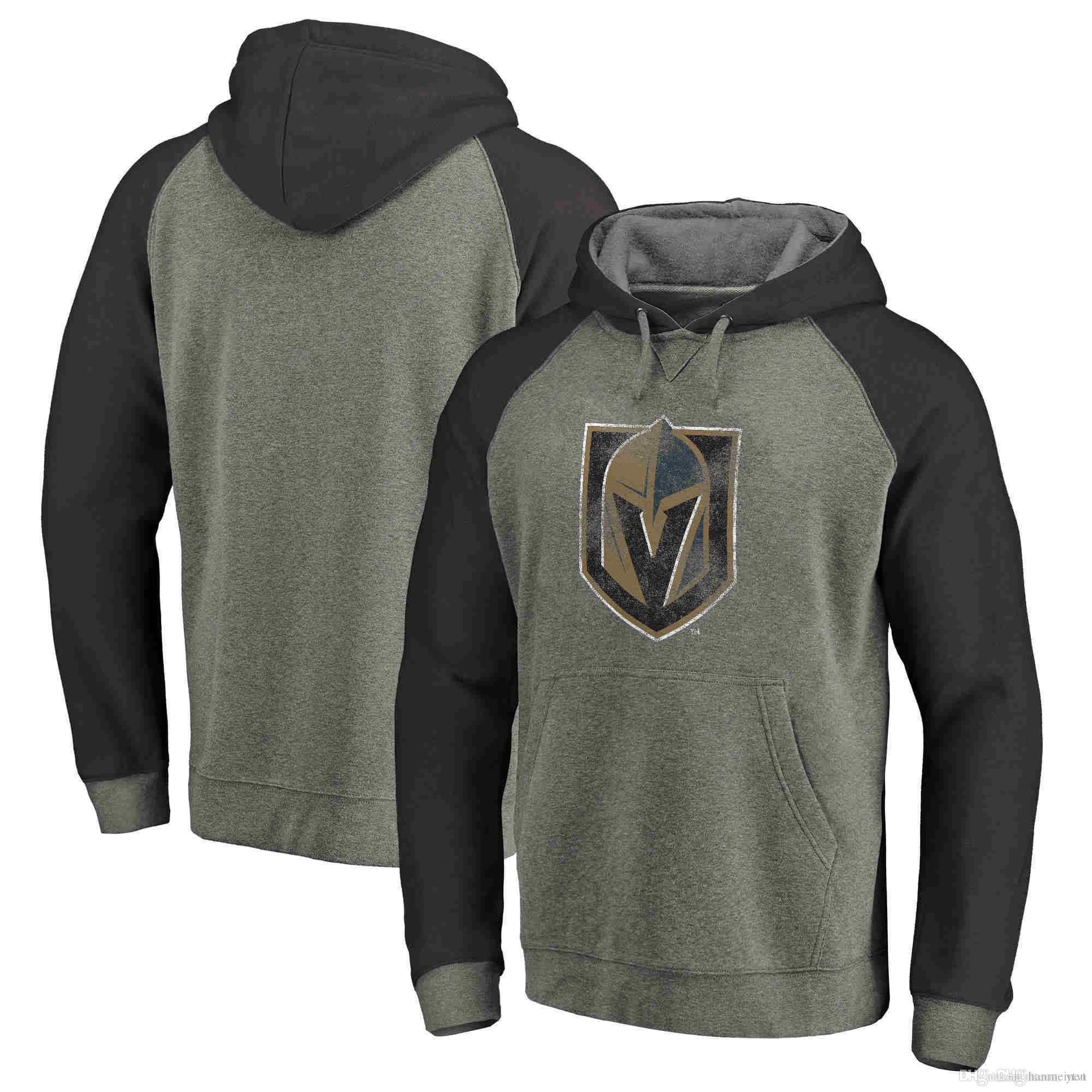 ed8703c1524 2019 New Men S 2018 Vegas Golden Knights Heathered Gray Team Distressed Ice  Hockey Pullover Hoodies Sweatshirts Size  S 4XL From Hanmeinen