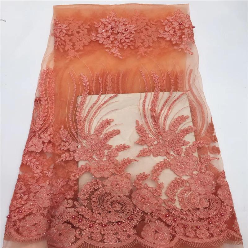 High Quality African Lace Fabrics Peach Color Nice French Net Embroidery beads Tulle Lace Fabric For Nigerian Party Dress H1339