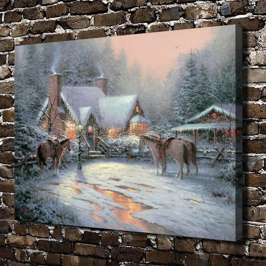 Thomas Kinkade,A Christmas Welcome,1 Pieces Canvas Prints Wall Art Oil Painting Home Decor (Unframed/Framed) 24x32