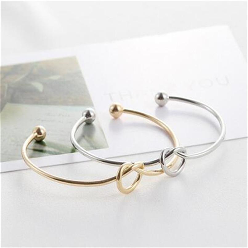 Olaru Fashion Gold Sliver Tie Bow Charm Bracelet For Woman 2018 New Cheap Simple Summer bracelets & bangles Wholesale Gift