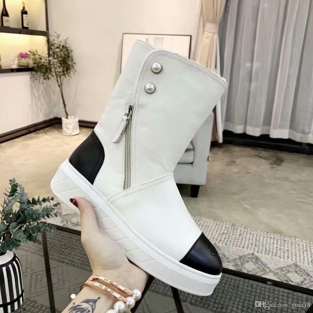 d32a6cce598 New 2019 Fall Winter Pearls Snow Boots Winter Booties Fur Lining ...