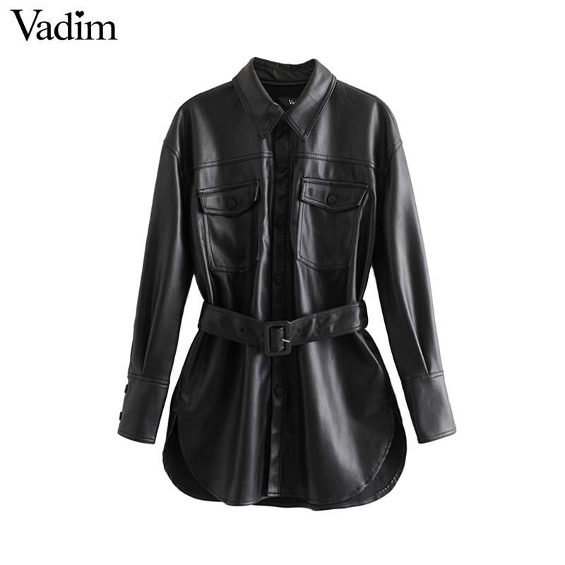 Vadim women black PU leather jackets bow tie sashes pockets long sleeve split coats female outwear chic casual tops
