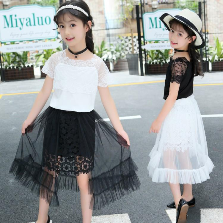 79f0b9bcf8f 2019 2019 New Spring Teenage Girl T Shirt+Skirt Black White Sets Summer Age  For 4 16 Yrs Big Girls Bohemian Style Beach Clothes From Dejavui