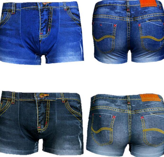 Sous Drôle Confortable Shorts Cuecas Coton Hommes Imprimer Boxers Mâles Sexy Jeans Respirant Vêtements Culottes XiuZwOkTP