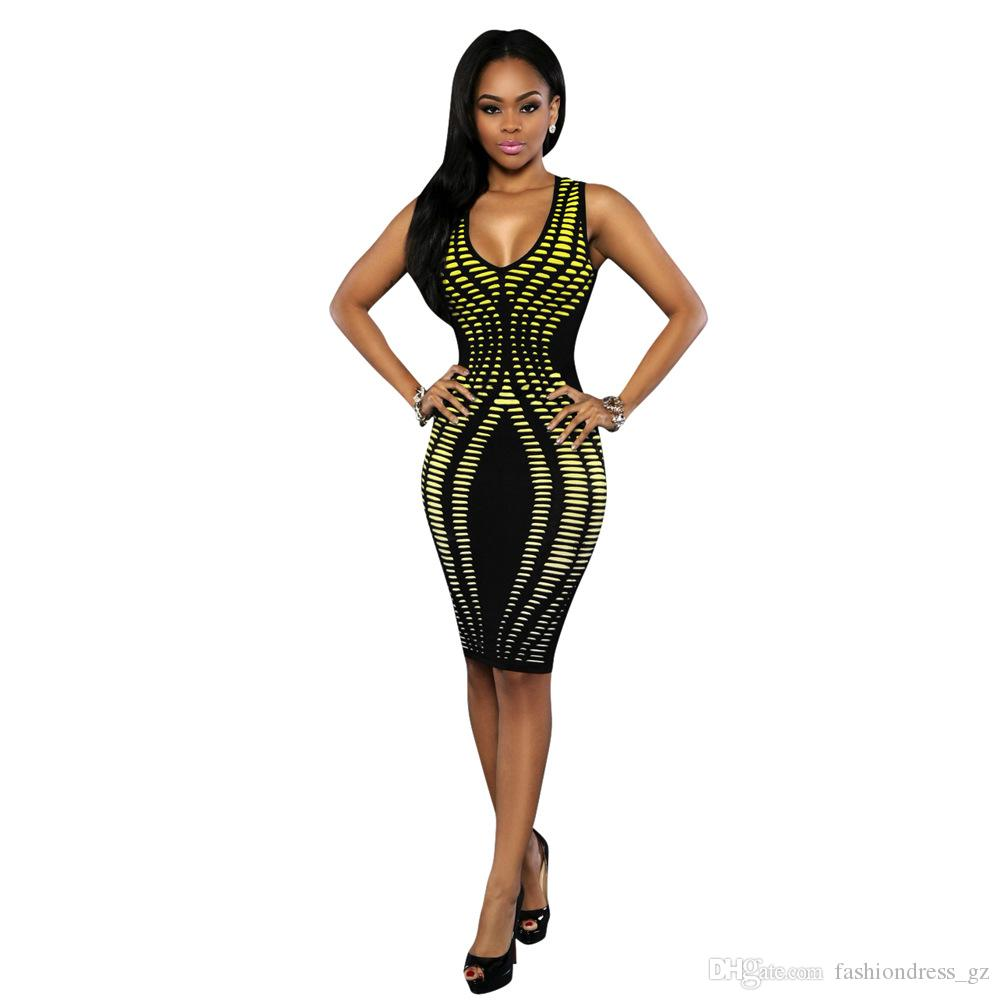 40aab29f66c93 7 Color Women Party Dress Europe Style Sexy Scoop Neck Striped Digital  Print Sleeveless Ladies Knee-Length Dress Sexy Club Dress DHL free