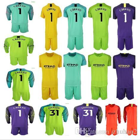 aca1120c0b1 2019 2018 19 Soccer Jerseys Goalkeeper Kit Shirt Man  1 C.BRAVO EDERSON  31  Goalie Uniform City Football KUN AGUERO Long Sleeve Soccer Kit From  Zhuhao2