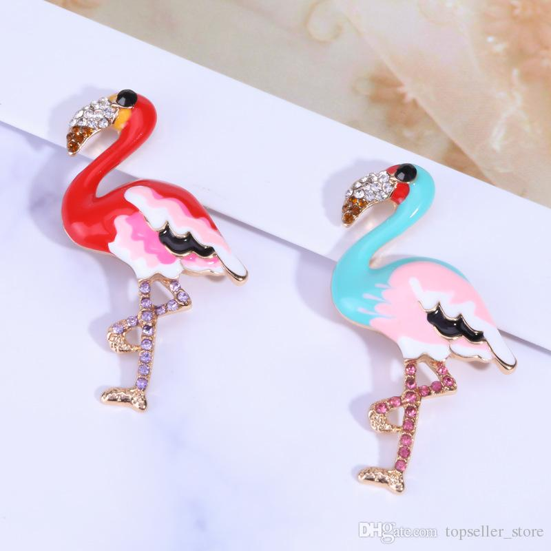 7 Styles Brooch Cartoon Animal Shape Flamingo Pattern Stylish Breastpin Brooch Pin Jewelry Accessories Decor Brooches for Girls Women