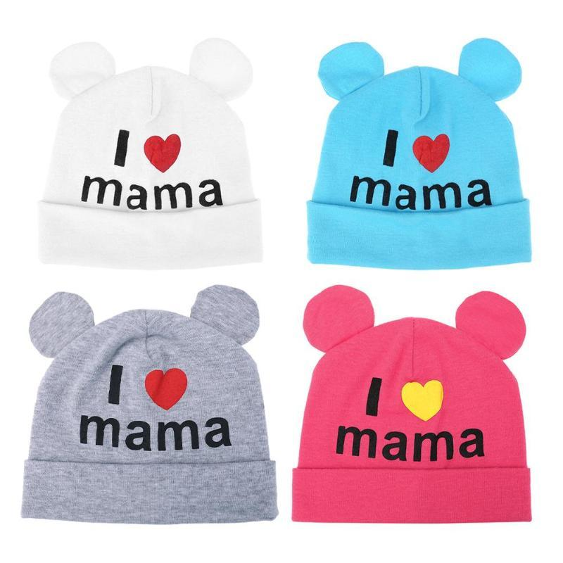 Newborn Baby Knitted Hats Spring Winter Hats for Kids Bear Ear Beanie I Love Mom Letter Children Knitted Caps Boys Girls Caps