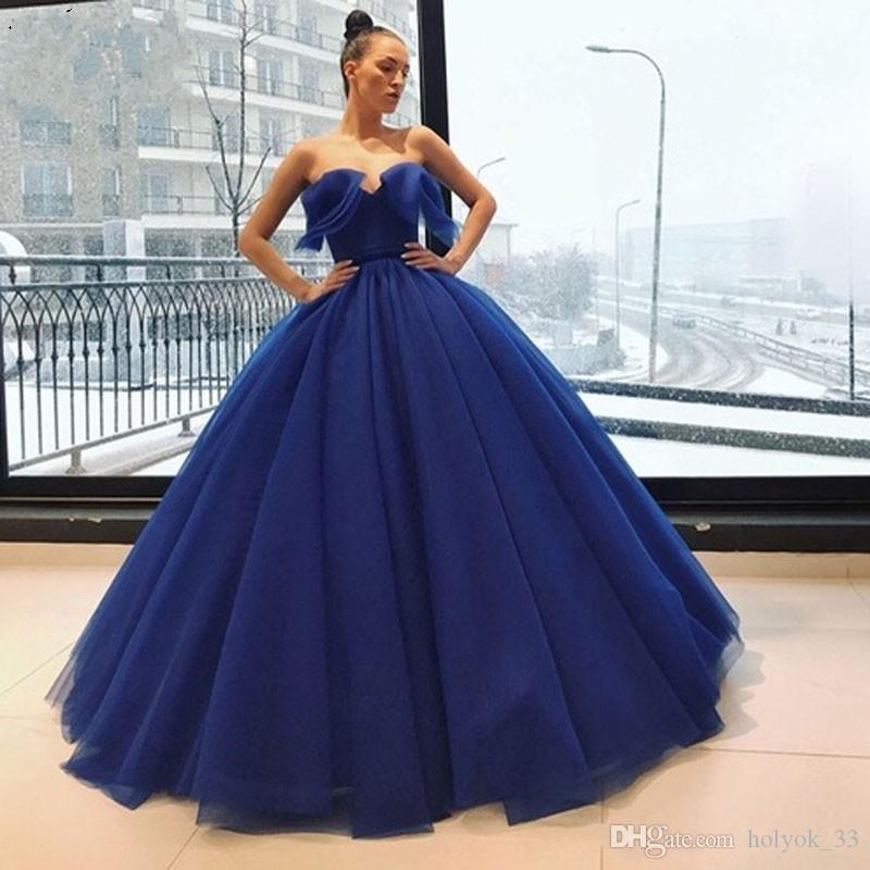 Líbano 2019 Royal Blue Prom Dresses querida Off the Shoulder vestido de baile Ruffles longo vestido de noite fotos de noivado Custom Made barato