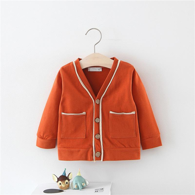 307223bc81ae Spring Boys Autumn 2019 Pocket V-neck Jackets Cardigan Baby Kids ...