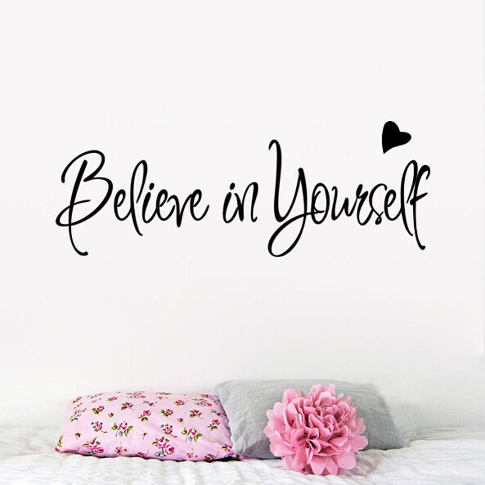 Believe In Yourself Wall Sticker Decor Living Room Decals Inspirational text bedroom living room wall stickers