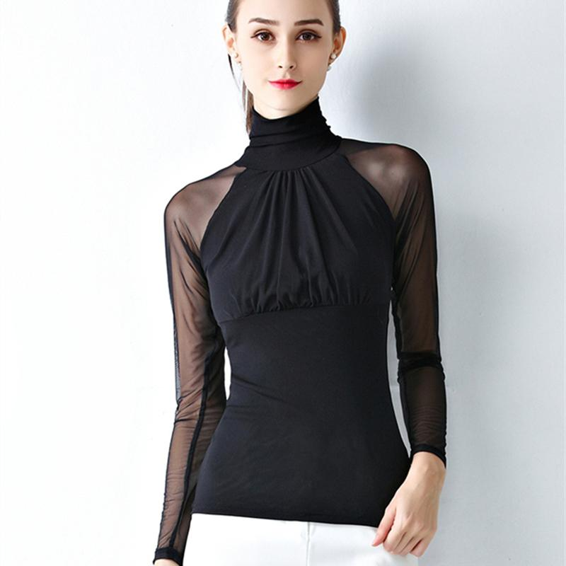 Sexy Womens Tops And Blouses Elasticity Shirt Female Mesh top Casual Blusa Mujer 2019 Spring Fit Black White shirts Elegant