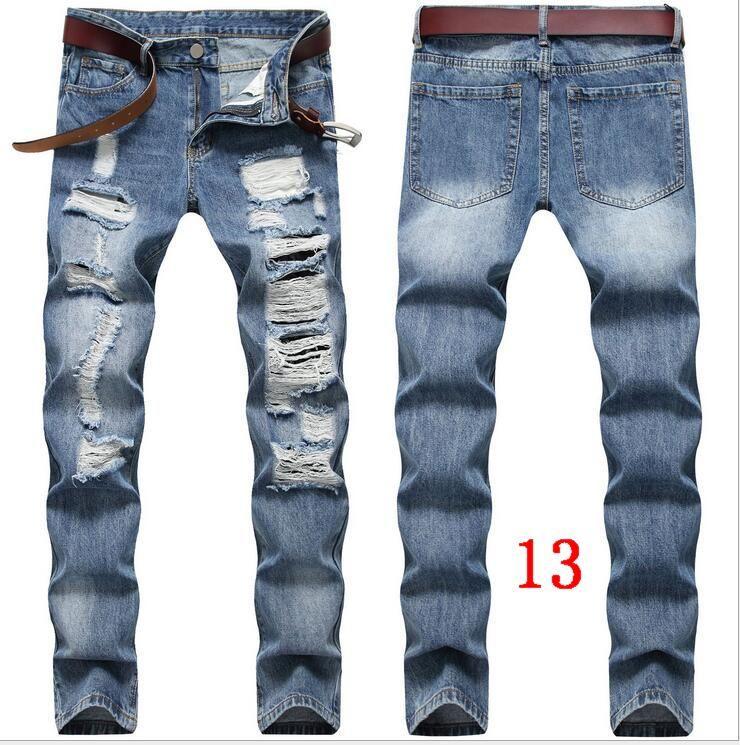 2020 новый мужской черный Байкер джинсы Slim Fit Упругие Тощий молнии Брюки Мотоцикл Повседневный Длинные мужчины рваные джинсы брюки