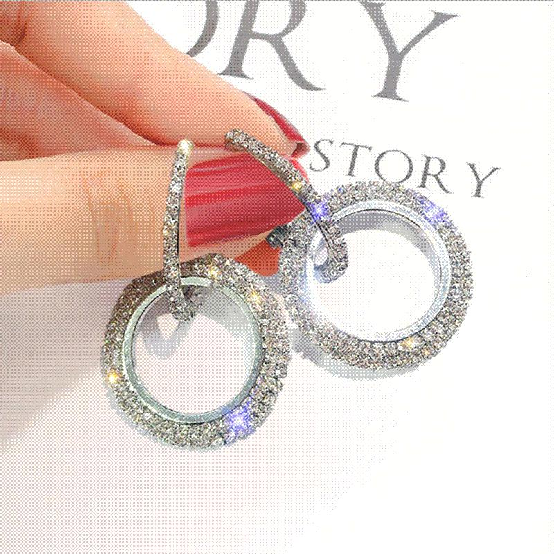 6ad341483 2018 Creative Jewelry High-grade Elegant Crystal Earrings Round Gold ...