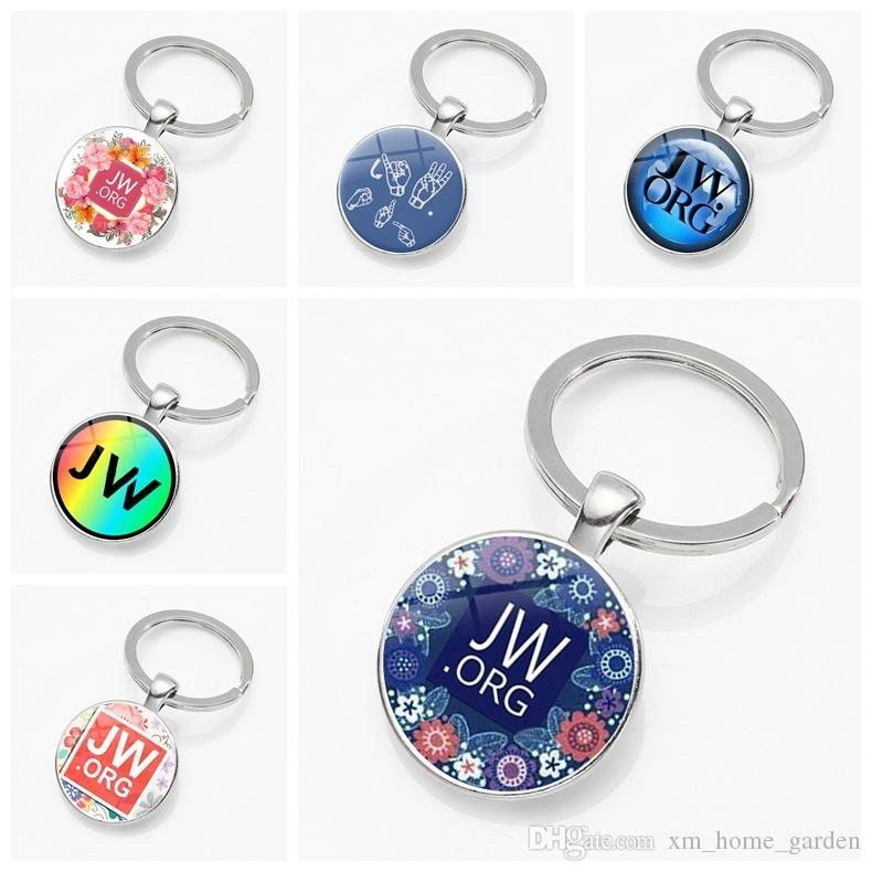 New 2018 JW ORG keychain Jehovah s Witnesses JW Pendant Glass Photo  Cabochon Keyring Car Key Charms Holder wholesale