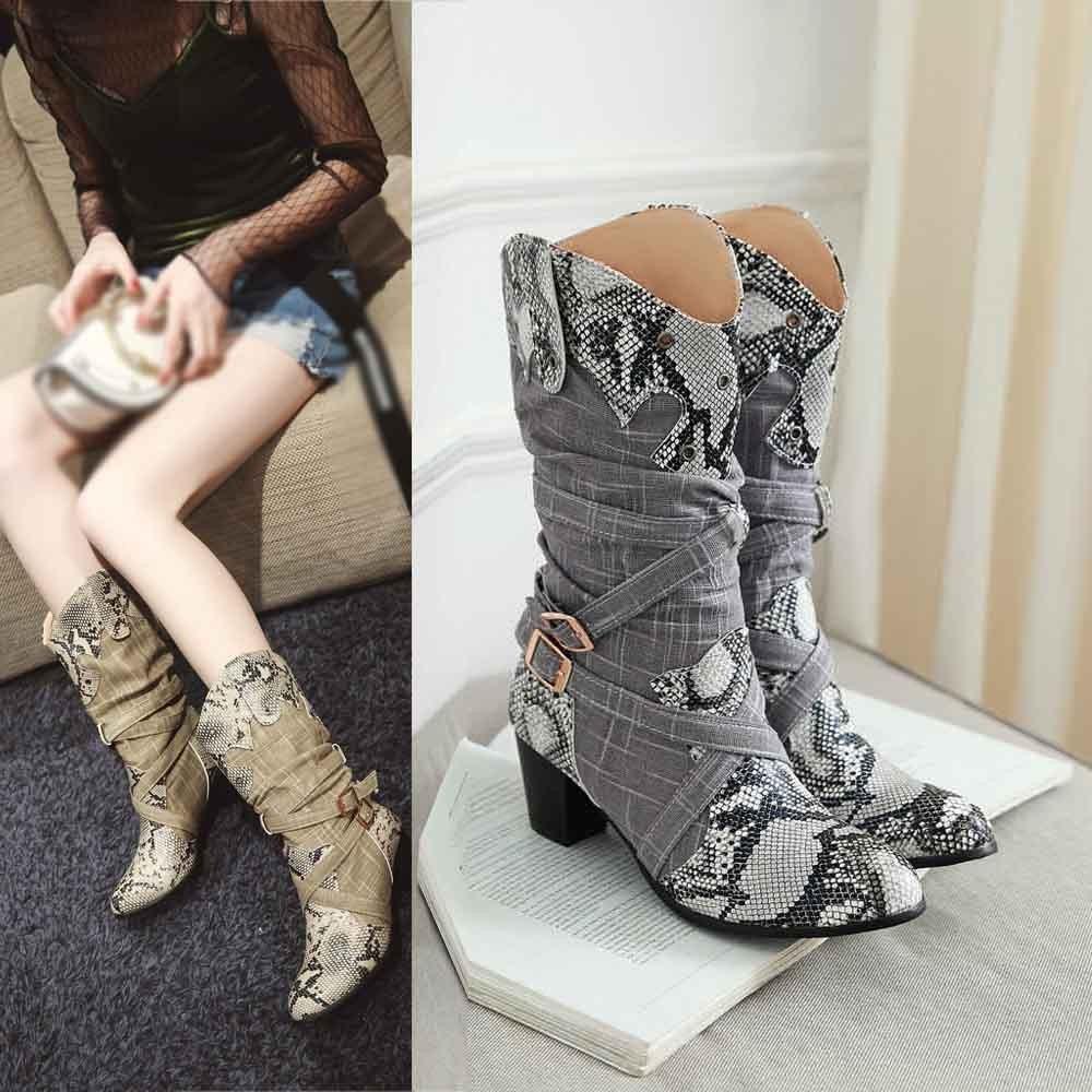 205b64e5f Compre 2019 Botas De Primavera Para Mujer Moda Snake Zapatos De Tacón Alto  De Media Pantorrilla Del Dedo Del Pie Puntiagudo Invierno Primavera Bota  Botas ...