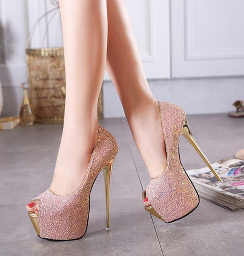b6f1837b99108 ... Paillettes Mariée Mariage Chaussures Mode Bout Ouvert 16 Cm Talon  Aiguille Designer Pompes Escarpins Été Plate Forme Dame Chaussures De  Soirée Taille 35 ...