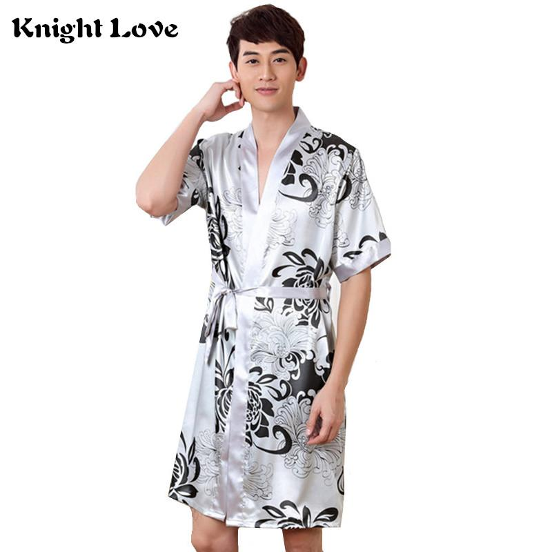 33d4eaa823 2019 Sexy Print Men Robe Set Home Clothing Silky Faux Silk Belt Bathrobe  Men S Kimono Bath Gown Nightwear Male Sleep Robes Suit From Paluo