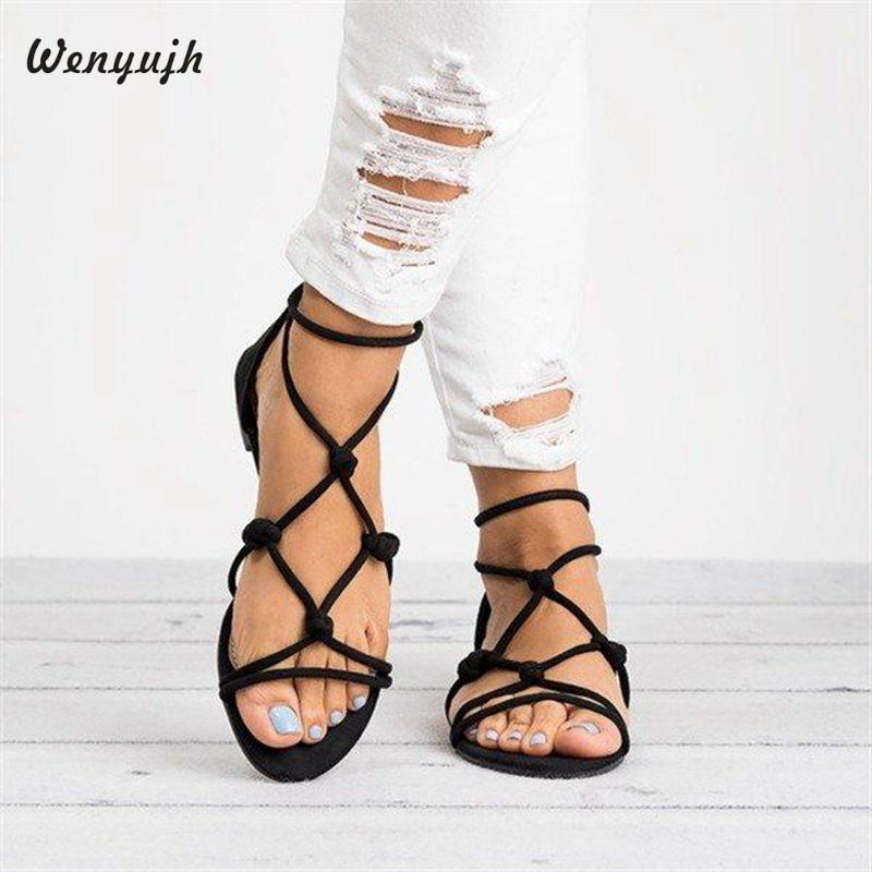 69edc398f7485f WENYUJH Women Sandals Flat Casual Rome Summer Shoes Woman Gladiator Sandals  Flip Flop Female Lady Beach Sandalias Femme Wedge Booties Saltwater Sandals  From ...