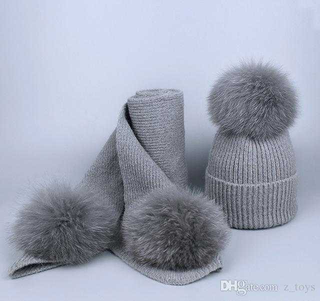 Children kids Real Fox Fur Winter Hat Raccoon Pom Pom Hat Scarf For baby Thick Hats scarves set Girls Caps Knitted Beanies Scarves Cap suit