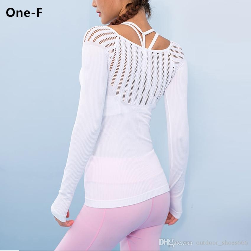 7aaa9e1e7 2019 Wanderer Long Sleeve Yoga Top For Women Sexy Hollow Out Training Top  Cutout Workout Gym Clothes Solid Thumb Hole Yoga T Shirts #20738 From ...