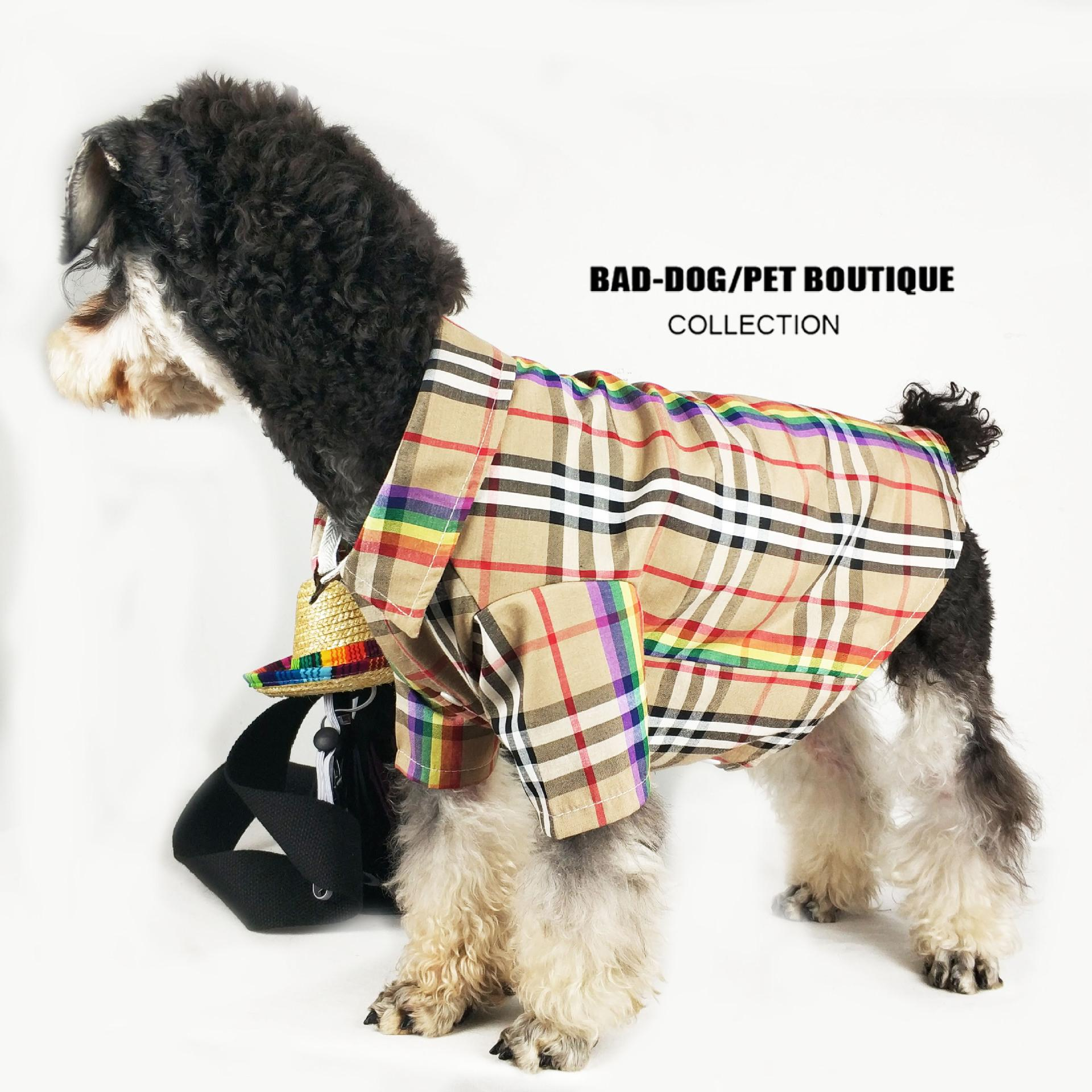 Dog Clothes Thin Plaid Shirt Teddy Schernaby Bear Fight Pomeranian